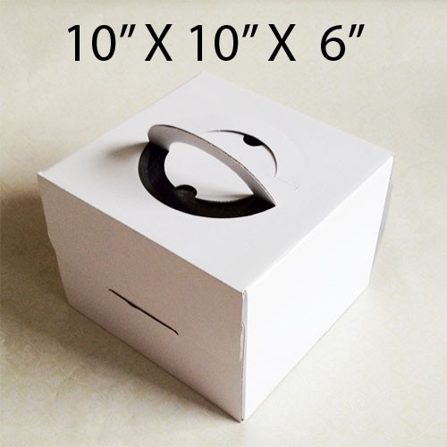 "Cake Boxes with Handle - 10"" x 10"" x 6"" ($2.20/pc x 25 units)"