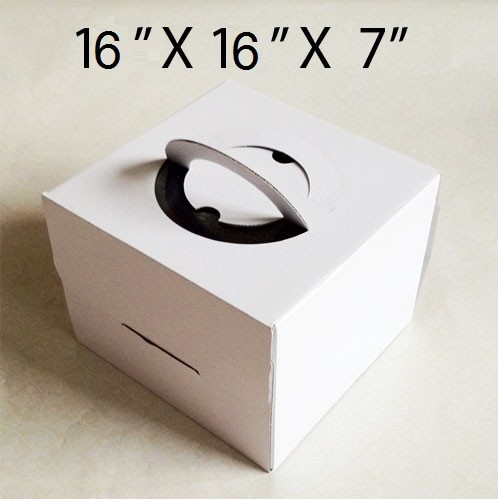 "Cake Boxes with handle - 16"" x 16"" x 7"" ($4.50/pc x 25 units)"