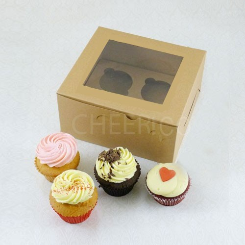 4 Kraft Brown Cupcake Window Box ( $1.60/pc x 25 units)