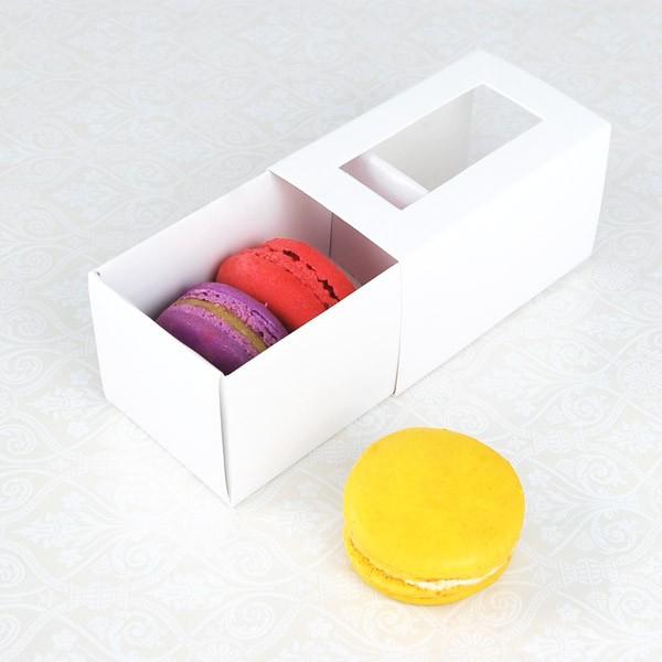 3 Macaron White Window Boxes($1.25/pc x 25 units)